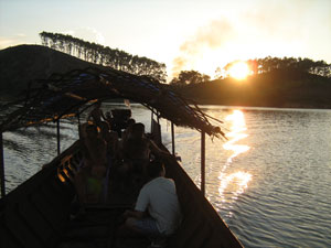 Thac Ba, Vu Linh boat and swimming on a Scenic Ha Giang motorbike tour