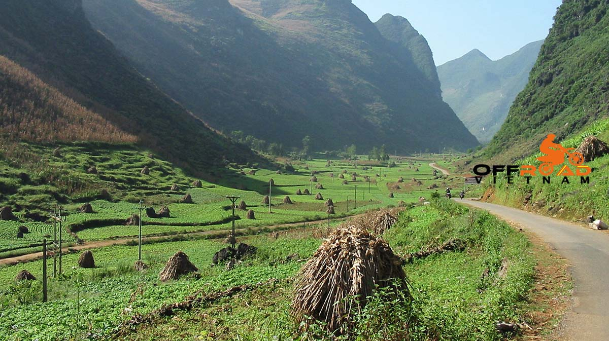 Motorbike Vietnam Adventure Tours - Scenic Ha Giang after maize (popcorn) collection. Motorcycling Ha Giang