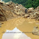 Northeast Vietnam off-road motorbike tours over landslides